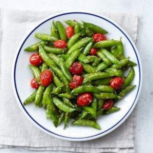Snap pea and cherry tomato stir-fry